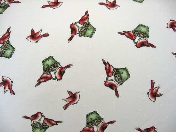 Maywood studios Fabric / holiday Christmas print / Red birds in baskets On SALE