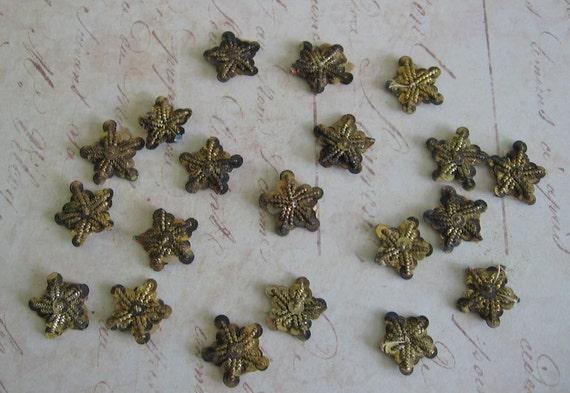 20 small Vintage Tinsel Stars /  gold bullion Stars / Millinery scrapbooking  Victorian Tarnished