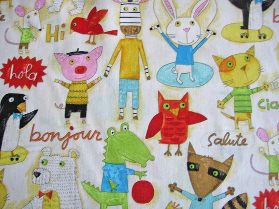 1/2 yard Hello Animals by Nancy Wolff / Japanese Fabric / Kokka/ Fabric owls