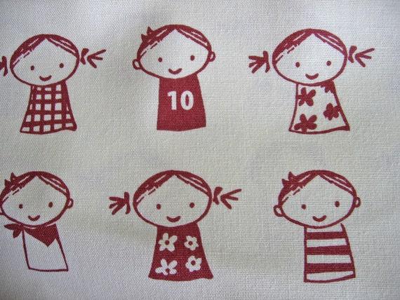 Items similar to retro red kids japanese fabric for Retro kids fabric
