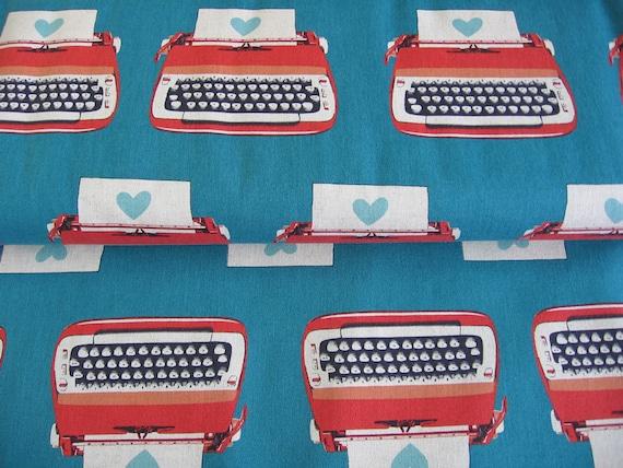 teal  / Japanese fabric / Melody Miller / Ruby star shining / Kokka / typewriter
