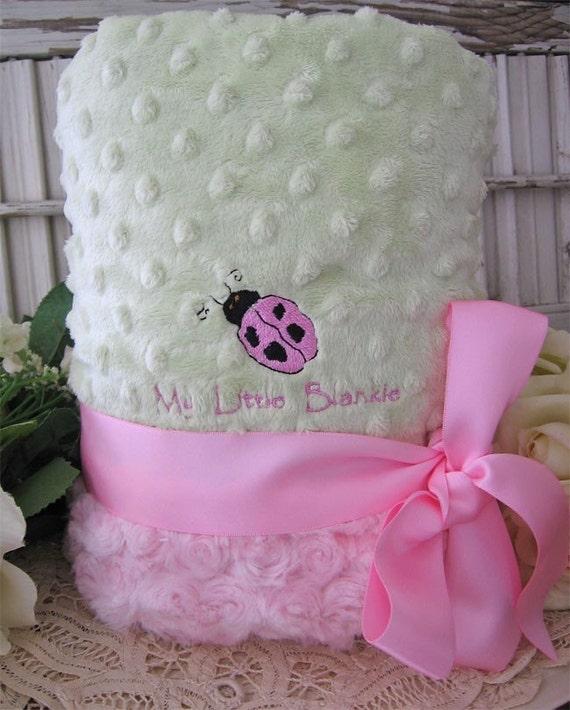 Baby Stroller Pink Ladybug Minky minkee Blanket custom embroidery / personalized / baby blanket girly