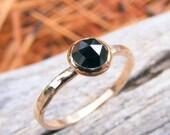 Gold stacking ring, Melanite Garnet Rose Cut Gold Stacking ring, Black Gemstone ring, Solid Gold Stacking Ring
