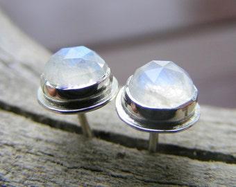 Moonstone Studs, Faceted Rainbow Moonstone Stud Earrings, Moonstone Earrings, Moonstone Jewelry