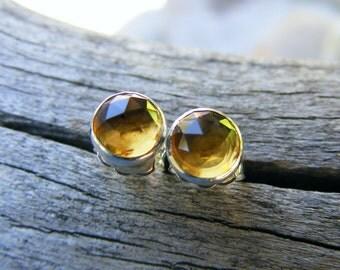 Whiskey Quartz Studs, Whiskey Quartz Earrings, Like Citrine Color Gemstones, 6mm studs, Faceted Whiskey Quartz Studs