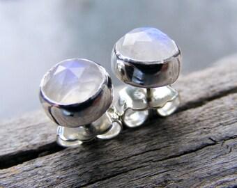Faceted Rainbow Moonstone Studs, Moonstone Stud Earrings 6mm, Moonstone Jewelry