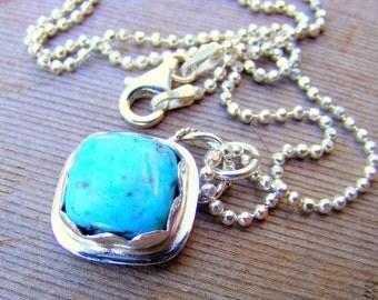 Turquoise Necklace, Blue Turquoise Necklace, Turquoise Silver Necklace, Turquoise Pendant Necklace, Blue Stone Necklace