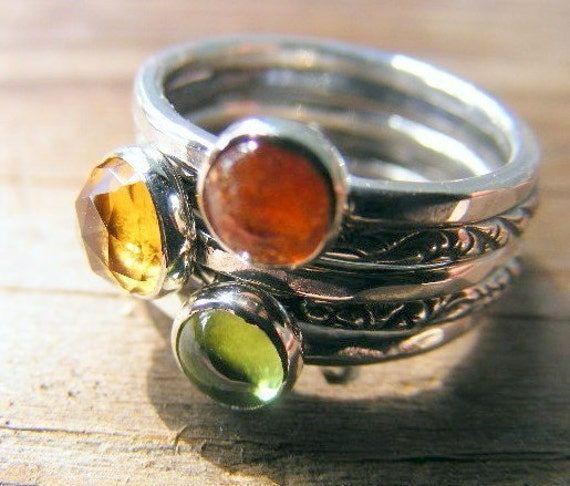 Summer Stacking Rings, Whiskey Quartz, Sunstone, Peridot in Sterling Silver