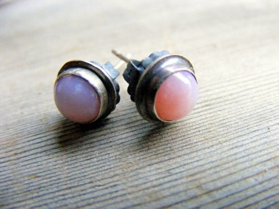 Pink Opal Stud Earrings, Pink Gemstone Sterling Silver Oxidized Studs, Peruvian Opal Gemstones 6mm Set In A Rustic Oxidized Handmade Bezel