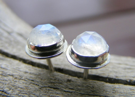 Rainbow Moonstone Sterling Silver Post Stud Earrings, Rose Cut Faceted White Irridescent Gemstone, Bridesmaid Gemstone Jewelry,