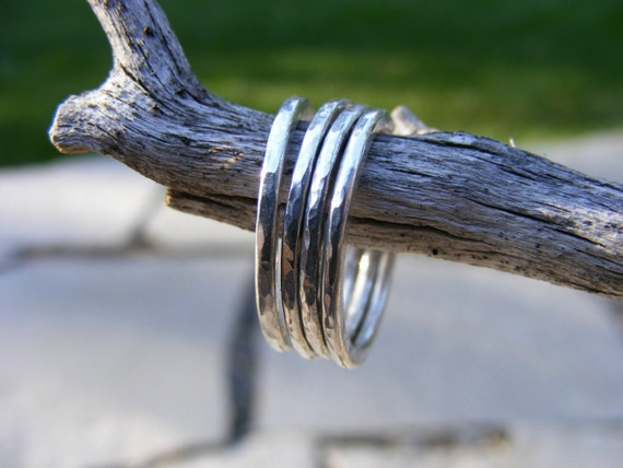 Four Sterling Silver Hand Forged Stacking Rings -