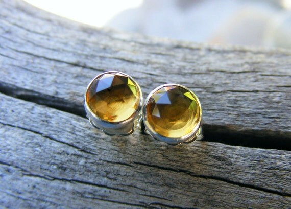 Whiskey Quartz Studs, Whiskey Quartz Earrings, Like Citrine Color Gemstones, 6mm Studs, Faceted Whiskey Quartz Studs
