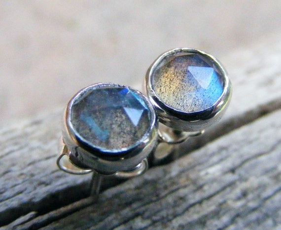 Labradorite Sterling Silver Studs, Rose Cut Faceted Blue Grey Flash Gemstone Post Earrings, Rustic, Organic, Simple, Everyday Wear Jewelry