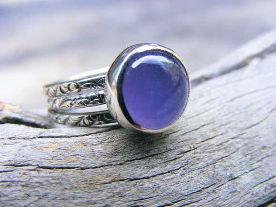 Purple Jade Ring Sterling Silver patterned stacking rings included. Lavender Jade Ring