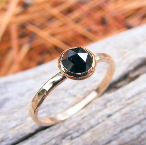 Solid Gold Stacking Ring, Melanite Garnet Rose Cut Gold Stacking Ring, Black Gemstone Ring, Solid Gold Stacking Ring