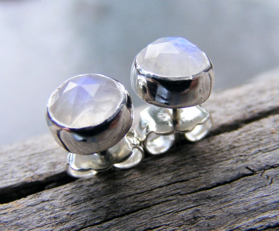 Faceted Rainbow Moonstone Studs, Moonstone Stud Earrings 6mm, Moonstone Jewelry