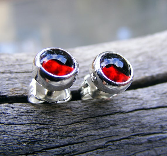 Red Garnet Stud Post Sterling Silver Earrings,  Rhodolite Garnet Gemstone Earrings,  January Birthstone Jewelry,  Helene's Dreams