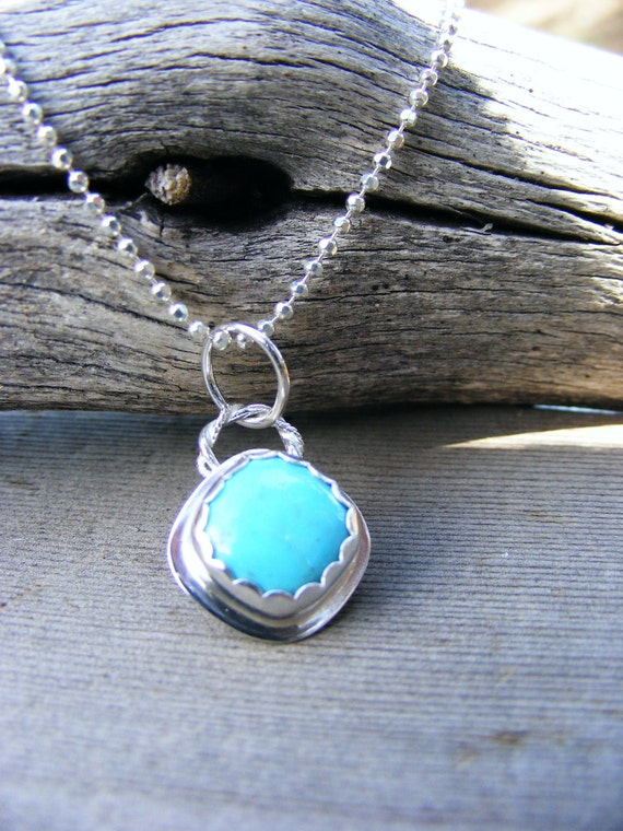 Turquosie Pendant Sterling Silver Necklace,  Southwest, Cowgirl, Bohomeian Blue Gemstone  Jewelry, Handcrafted By Helene's Dreams