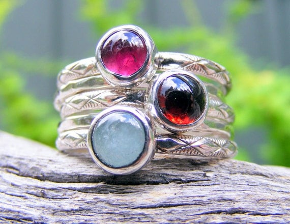 Birthstone Ring, Mothers Ring, Birthstone Silver Stacking Rings, Stacking Pattern Ring Bands, Mothers Keepsake Jewelry