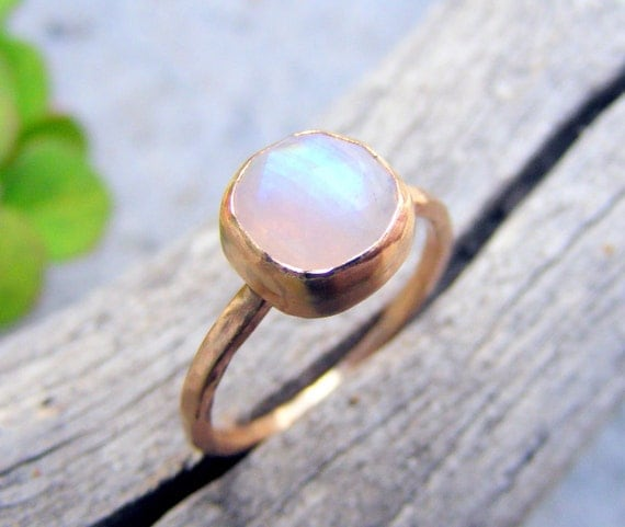 Gold Moonstone Ring, 14k Gold  8mm Faceted Cushion Cut Rainbow Moonstone Ring, Simple, Skinny, Organic