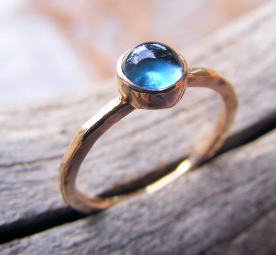 London Blue Topaz Gold Ring, December Birthstone Stacking Ring, Blue Topaz Birthstone Jewelry, 14kt Gold Or Rose Gold Option