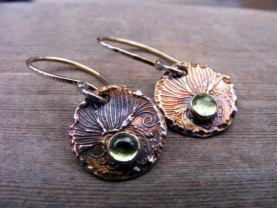 Peridot Silver Dangle Earrings, Sterling Silver Peridot Drop Earrings, Green Stone Jewelry, Antique Look
