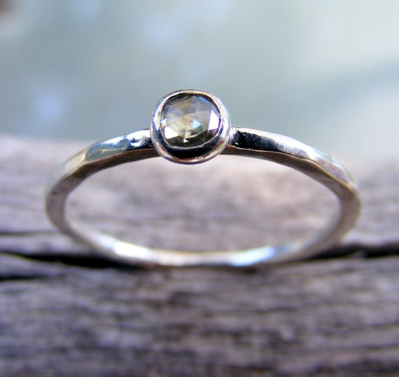 Moissanite Engagement Ring, Simple Rose Cut Stacking Sterling Silver Ring, Wedding Ring, Simple Diamond Alternative Ring