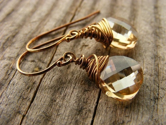 Champagne Swarovski Crystal Briolette Dangle or Drop Earrings Oxidized