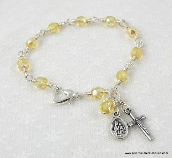 Rosary Bracelet Virgin of Carmel with Sacred Heart of Jesus in Yellow Czech Glass