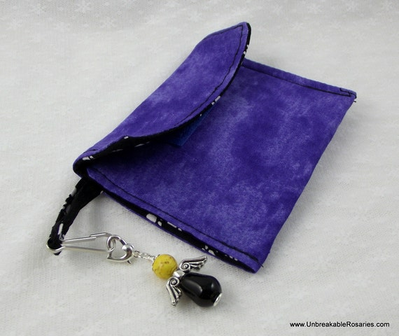 Purple and Black Paw Print Rosary Case With Guardian Angel Rosary Marker