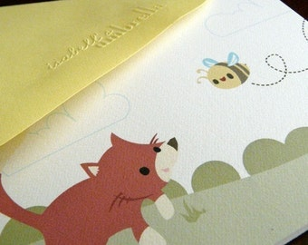 Fox and Bee Note Card