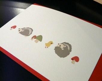 Hedgehog and Mushrooms Note Card