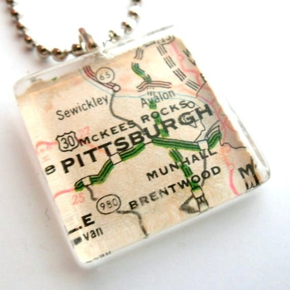 Glass Tile Map Necklace - Pittsburgh