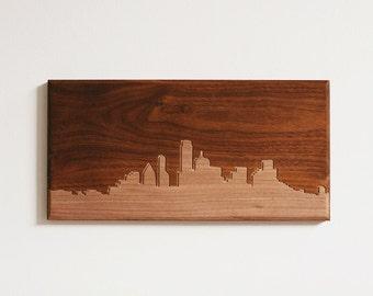 Dallas Skyline. - 4x8 - Walnut