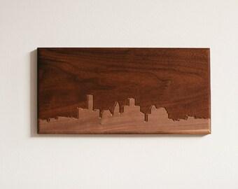 Houston Skyline. - 4x8 - Walnut