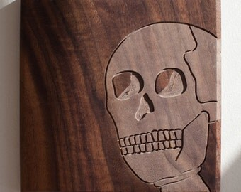 Skeleton Skull 7x7 - Walnut