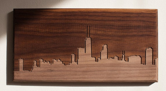 Chicago Skyline. - 4x8 - Walnut