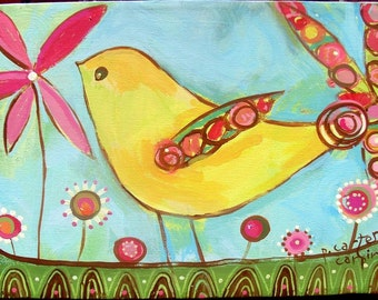 Yellow Partridge print on paper