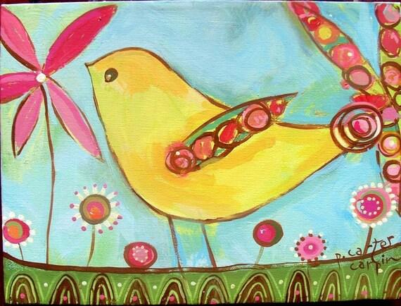 Yellow Partridge Print On Paper
