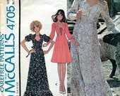Vintage 1970s Dress Pattern, McCall's 4705, Size 12, Bust 34