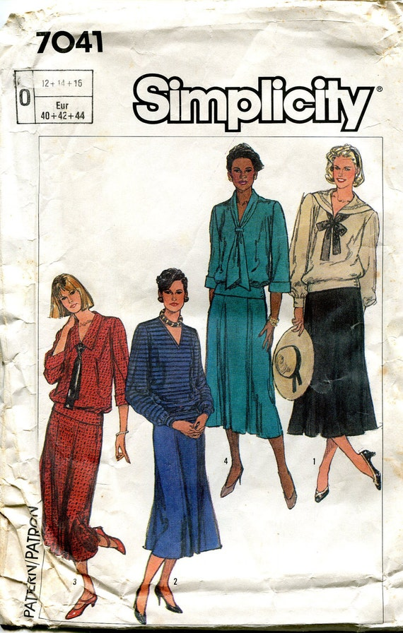 Vintage 1980s Two Piece Dress Pattern, Simplicity 7041, Size 12 14 16, Bust 34 36 38