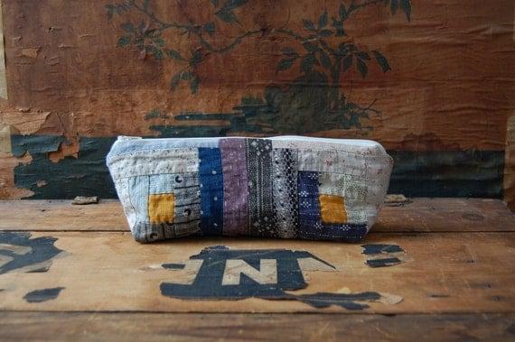 log cabin patchwork zip case no.11