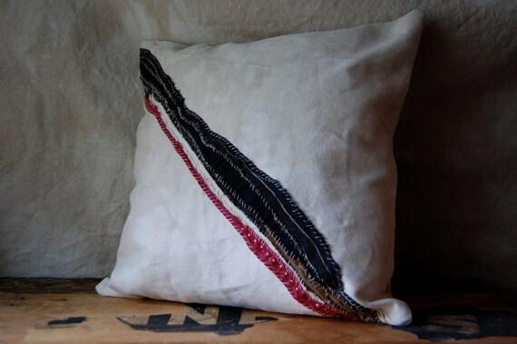 SALE wide stripe salvage pillow