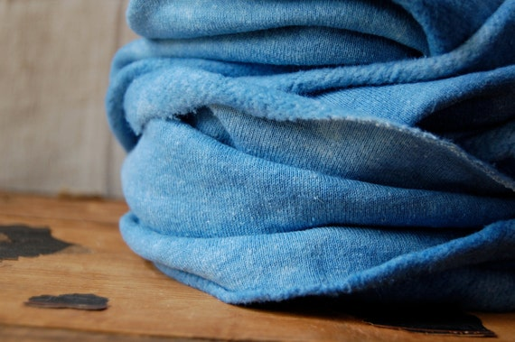 SALE indigo organic fleece hood cowl