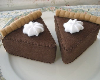 READY TO SHIP Felt Chocolate Pie Slices Play Food