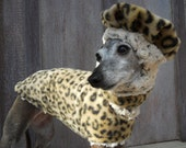Leopard and Minky Fur Lined Reversible Fleece Dog Coat, Beret and Neck Cuff