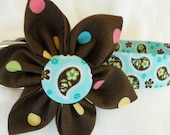 Chocolate Dots and Paisley Kanzashi Flower Dog Collar sz 17