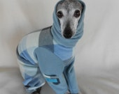 Fuzzy Warm Plaid Italian Greyhound and Small Dog Jammies with Snood-custom made Italian greyhound clothes