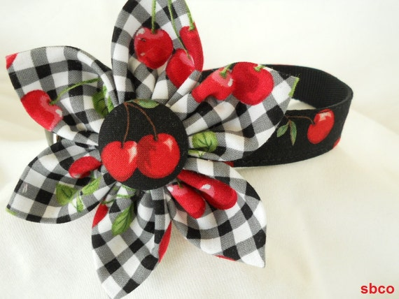 Cheerful Cherries on Gingham Kanzashi Flower and Matching Dog Collar - 14 inch ships today