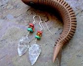 Quartz Arrowhead Earrings w/ Coral, Amber, Turquoise Gemstones